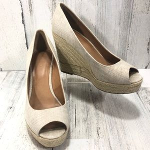 Coach Milan Peep Toe Canvas Wedge Espadrille Shoes